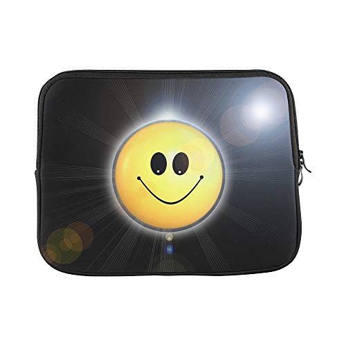 Yellow Happy Cute Emoticon Satisfied Rays Sleeve Soft Laptop Case Bag Pouch Skin for MacBook Air 11