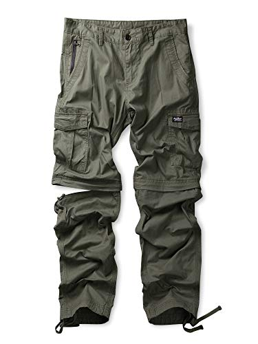 (Men's Casual Cotton Convertible Zip Off Cargo Work Pant Army Green 38)