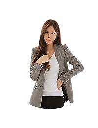 HFSX Women's Elegant Coat Slim Fit Plaid Blazer Jacket