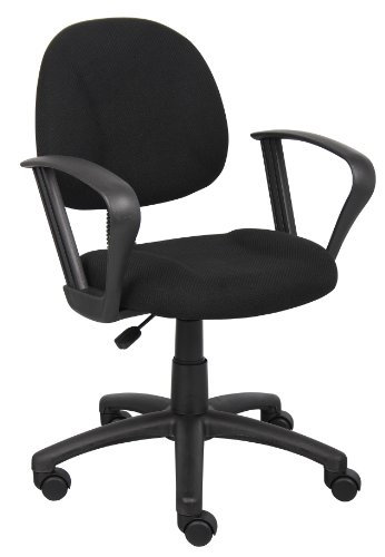 Boss Office Products B317-BK Perfect Posture Delux Fabric Task Chair with Loop Arms in Black