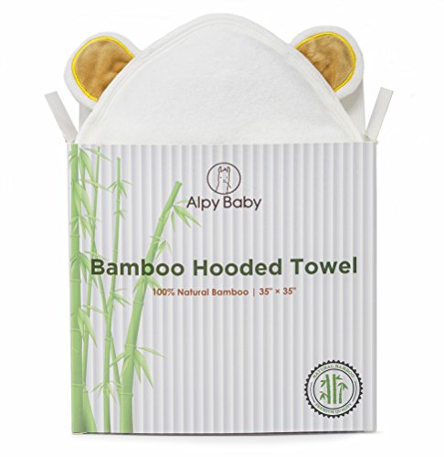 Organic Bamboo Hooded Bath Towel by Alpy Baby - Premium Quality Hypoallergenic Towel for Infants and Toddlers - White with Brown Bear Ears - Perfect Baby Shower Gift for Boys and Girls