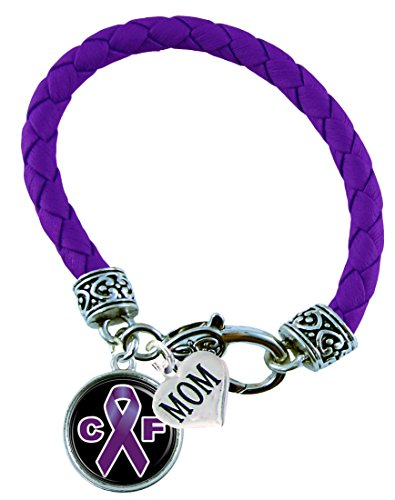 Bracelet Custom Cystic Fibrosis Awareness Purple Ribbon Leather Bracelet MOM OR DAD charm ONLY Jewelry