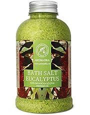 Badzout Eucalyptus 600 g - Zeezout met Natuurlijke Essentiële Eucalyptusolie - Natuurlijk Badzout Het Beste voor Een Goede Nachtrust - Stressverlichting - Baden - Ontspanning - Tegen Verkoudheid en Hoest - Badadditief