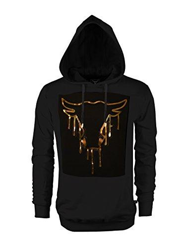 SCREENSHOT SCREENSHOTBRAND-51733 Mens Hip Hop Premium Fleece Hoodie - Pullover Long Sleeves Fashion Hoody Embossed Bull Print - Black - (Fleece Screen Print Sweatshirt)