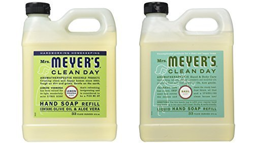 Mrs. Meyer's Liquid Hand Soap Refill, Lemon Verbena and Basil, 33 Fluid Ounce Variety Pack ()