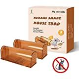 "Extra Large Humane Smart Rodent Trap, Live Catch Release, Kids/Pet Safe, Easy to Set, Reusable, Indoor/Outdoor Use, for Mouse/Rats/Chipmunks/Moles Catcher That Works. 9.45"" x 3.15"" x 3.54"". 2 Pack"