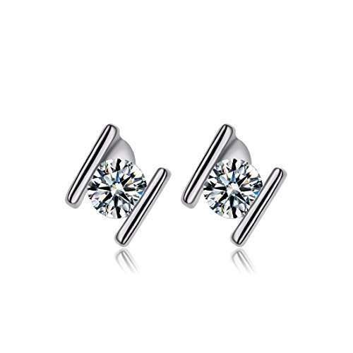 18k White Gold Bead (NEWBARK H Stud Earrings 18k White Gold-Plated Solitaire Cubic Zirconia Crystal)