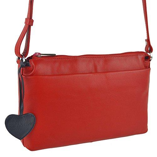 Mala Leather - Bolso cruzados para mujer Negro azul marino rojo