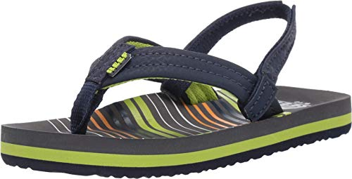 Reef Baby Little AHI Sandal, Stripe Green, 7-8 Medium US Toddler