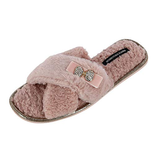 (Pretty You London Women's Ali Cross-Over Slide Slipper with Bow Rhinestone, Large (8-9),)