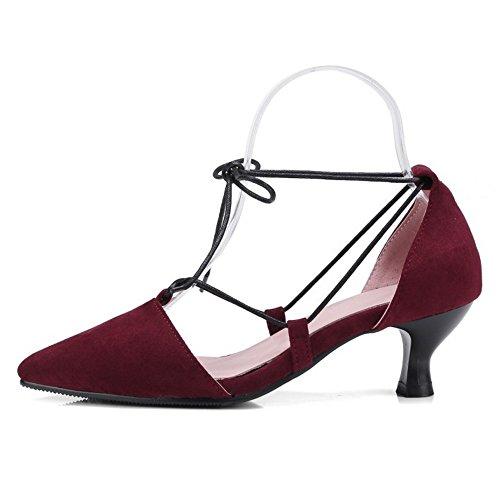 Pointu Red à Bout TAOFFEN Escarpins Moyens Chaussures Femmes Talons Lacets 6xTHEwUq