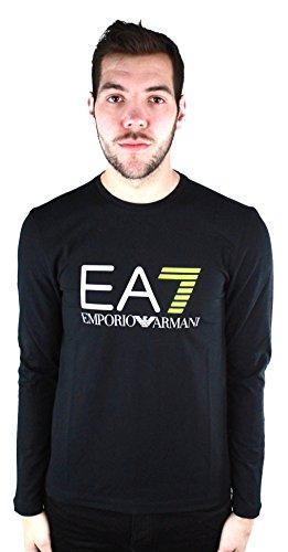 EA7 Emporio Armani Active Men's Train Logo Series Pop 7 Long Sleeve Crew Neck T-Shirt, Black/Yellow Fluorescent, M