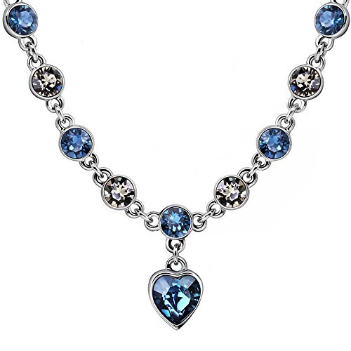 Ocean Heart Love Necklace with Swarovski Crystal Adjustable Choker Necklace Gift