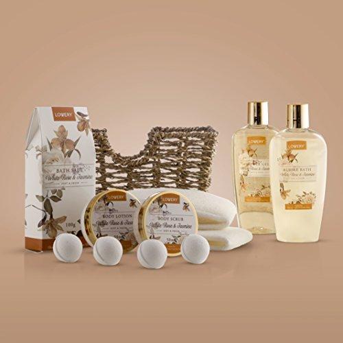 Home Spa Gift Basket - White Rose & Jasmine - Luxury 11 Piece Bath & Body Set For Women, Mother's Day Gifts with Shower Gel, Bubble Bath, Body Lotion, Scrub, Bath Salt, 4 Bath Bombs, Loofah & Basket