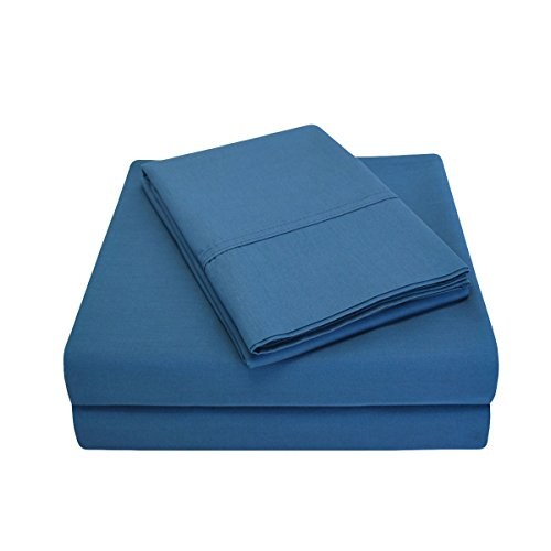 Percale 300 Thread Count 100% Cotton, Deep Pocket, 3-Piece Twin Bed Sheet Set, Solid, Navy Blue (3 Bed Piece)