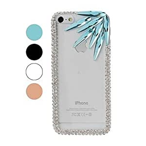 YULIN DIY Chain Frame with Rhinestone and Colorful Irregular Diamond Pattern Plastic Hard Case for iPhone 5/5S , Silver