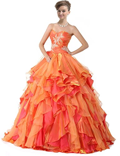 Zorayi Women's Strapless Taffeta Party Ball Gowns Orange Prom Quinceanera Dresses Size 30