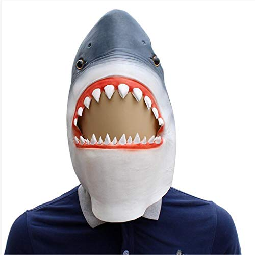 QIAO Halloween Props Shark Animal Mask Cosplay Party Tidy Latex Props Costume Ball Headgear (Color : A) -