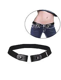 AOLVO No Buckle Stretch Belt for Women/Men,Buckle-Free Elastic Belt for Jeans Pants Dresses Invisoble Belt No Bulge No Hassle (Black)
