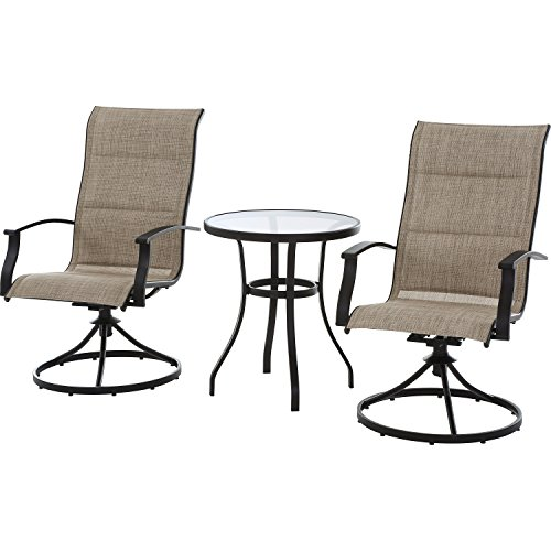 Patio Swivel Chairs - Mainstays Highland Knolls Padded Sling 3-Piece Bistro Set