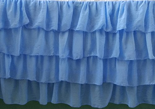 Blue Chiffon Layered Ruffle Mini Crib Skirt 16 Inch Drop 3 Sided by DecorWithShams