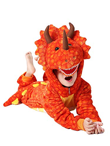 Triceratops Costume For Kids (Kids Animal Onesie Cartoon Halloween Triceratops Costume Red 6)