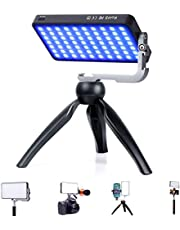 IVISII G2 Pocket RGB Camera Light,32Wh Built-in 4300mAh Rechargeable Battery 360°Full Color Gamut 9 Light Effects,2600-10000K LED Video Light Panel with Aluminum Alloy Body, Adjustable Tripod Stand
