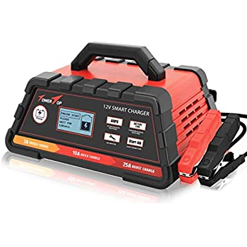 2/10/25A 12V Smart Battery Charger/Maintainer Fully Automatic with Engine Start, Cable Clamps