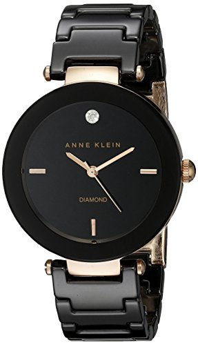 Anne Klein Women's AK/1018RGBK Diamond Dial Rose Gold-Tone Black Ceramic Bracelet Watch (Black Glossy Dial)