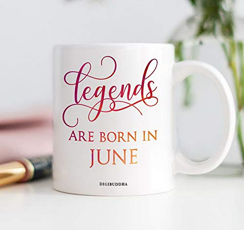 Coffee Mugs 11oz Legends Are Born In June Coffee Mug, Birth Month Gift, Gift for Women, Funny Gift Idea for Her, Birthday Gift, Diva Mug, June Birthday Gift Office Women -