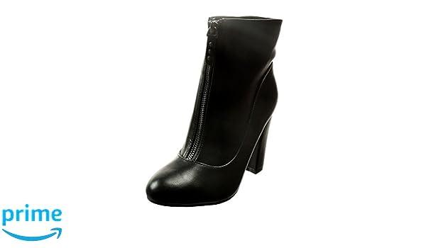 Angkorly - Zapatillas Moda Botines santiags - Cowboy - Vaquero Mujer Tachonado Talón Tacón Ancho Alto 9.5 CM - Negro 1002 T 37: Amazon.es: Zapatos y ...