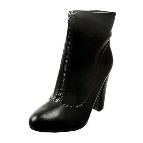 Angkorly - damen Schuhe Stiefeletten - Santiags - Cowboy - Nieten - besetzt Blockabsatz high heel 9.5 CM - Schwarz