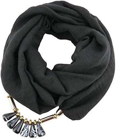 XSHOMW Color Puro TR Collar de joyería de algodón Bufandas para Mujer Collar de Gota de Resina Colgante Bufanda Chifón Bufanda Larga Negro: Amazon.es: Deportes y aire libre