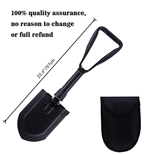 FRUITEAM D Handle Shovel 22.4'' Folding Shovel High Carbon Steel for Survival Camping Gardening Snow Removal and SUV Emergencies, Entrenching Trowel Tool Includes Carrying Pouch with Loop by FRUITEAM