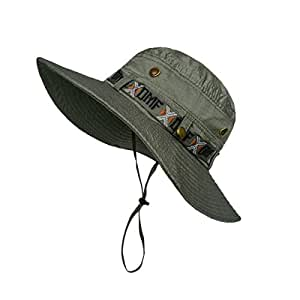 LETHMIK Fishing Sun Boonie Hat Summer UV Protection Cap Outdoor Hunting Hat Beige