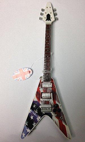 Baby Axe enanos-guitarra eléctrica - Flying V con diseño de rayas de estrellas de