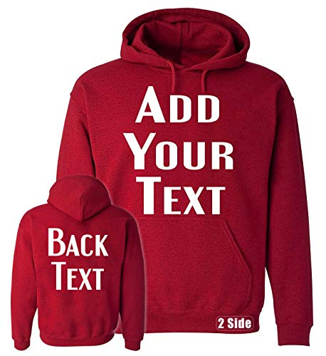 TEEAMORE Men Women Custom Hoodie, Add Your Text, Design Your Own, Front and Back