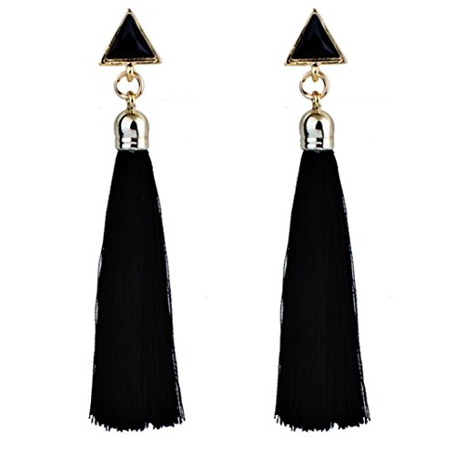 Berries 16 Piece Set (Womens Earrings,Lamolory Bohemian Ethnic Hanging Rope Tassel Earrings (Black, Large))