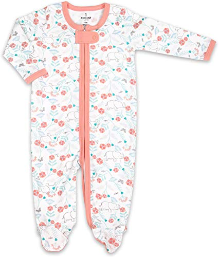 (The Peanutshell Soft Baby Footie Pajama Sleeper and Bodysuit - Pink Elephant Floral )