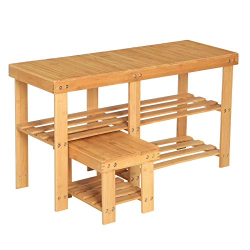 SONGMICS Bamboo Shoe Bench with Stool for Kids, Set of 2 Shoe Racks, 3-Tier Heavy Duty Shoe Shelf, Entryway Storage Organizer for Hallway, Living Room, Natural ULBS20NL