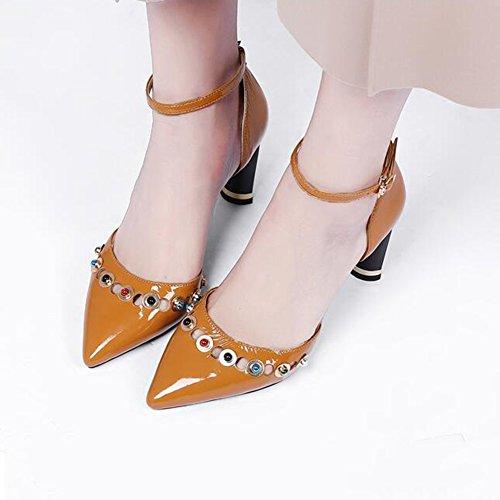 Ly Mince 39 Printemps Chaussures Sandales UK6 Décoration Été Talons Caramel Escarpins Cm DALL En 679 Femmes 39 5 Et Hauts Métal Noir EU Couleur Haut taille CN 8 De Talons Color Pour 5YzwqF