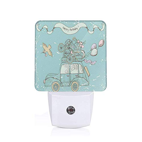 Colorful Plug in Night,Birthday Theme with Retro Car Luggage Balloons and Bird Flower On Scratched Backdrop,Auto Sensor LED Dusk to Dawn Night Light Plug in Indoor for Childs Adults