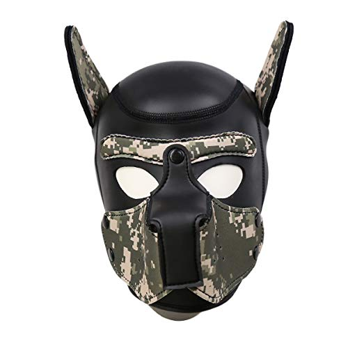 Micrkrowen Neoprene Full Face Mask Dog Puppy Hood Custom Animal Head Mask Novelty Costume Dog Head Masks (Black+Camouflage, M: 56-58.5cm/66cm) -