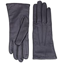 Dents Leather 3 Points Cashmere Ladies Gloves 7.5 Navy