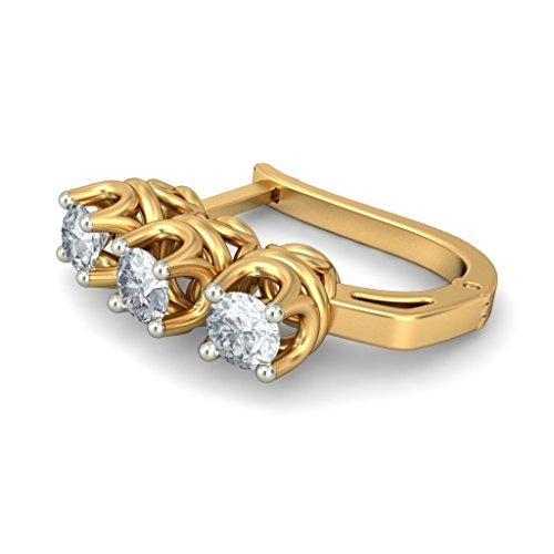 Or jaune 14K 0,66CT TW White-diamond (IJ | SI) Boucles d'oreilles créoles