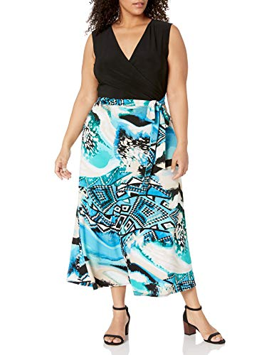Star Vixen Women's Plus-Size V-Neck 2-Tone Sleeveless Faux Wrap Maxi Dress, Blue Abstract Print, 2X