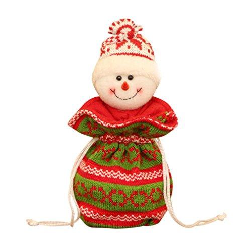 Iusun Christmas Santa Claus Snowman Elk Apple Bag Xmas Candy Gift Packaging Apple Box Decoration (A) (Snowman Sack)