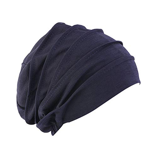 XiFe Unisex Indoors Cotton Beanie- Soft Sleep Cap for Hairloss, Cancer, Chemo (Navy DJ77)