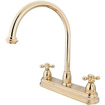Kingston Brass KS3782PX Restoration 8-Inch Kitchen Faucet without Sprayer Polished Brass