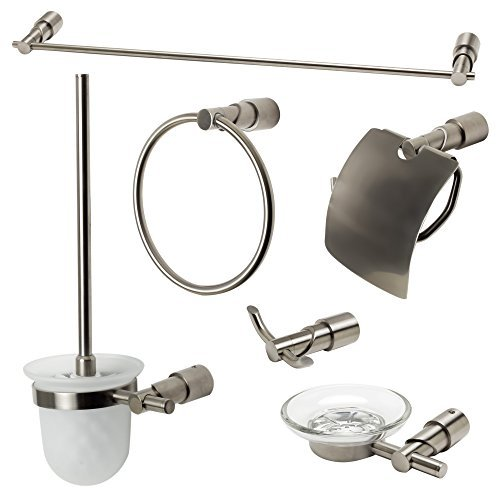 ALFI brand AB9508-BN Matching Bathroom Accessory Set (6 Piece), Brushed Nickel
